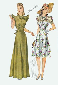Vintage WWII Liddy Hop Dress Evening Gown Figue Flatterning Fitted Midriff Sewing Pattern Simplicity 3835 Swing Era Size 14 B 32 by sandritocat on Etsy Vintage Outfits, Vintage Dresses, 1940s Outfits, Vintage Clothing, 1940s Fashion Women, Vintage Fashion, 30s Fashion, Vintage Dress Patterns, Clothing Patterns