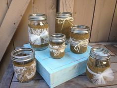 Lace Twine and Burlap Mason Jars