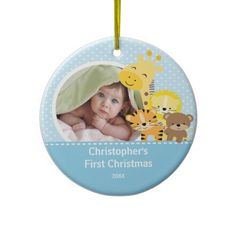 Babys First Christmas Photo Ornament Giraffe   Click on photo to purchase. Check out all current coupon offers and save! http://www.zazzle.com/coupons?rf=238785193994622463&tc=pin