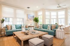 McKee & Company   Turquoise Living Room with a Beach Feel Living Room Turquoise, Turquoise Sofa, House Of Turquoise, Companies House, New Living Room, Blue Couch Living Room, Blue Couches, Beach House Tour, Living Room Color Schemes