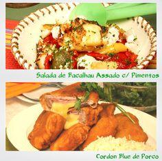 Salada de Bacalhau Assado com Pimentos e Cordon Blue de Porco - Clique na imagem para encontrar as receitas
