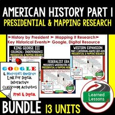 American History Presidential, Mapping Research (Print, Digital, Google) BUNDLE American History Research Graphic Organizers, American History Map Activities, American History Digital Interactive Notebook, American History Presidential Research, American History Summer School
