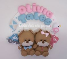Enfeite Porta Maternidade Casal Gêmeos Baby Crafts, Felt Crafts, Bear Felt, Name Banners, Smurfs, Cute Pictures, Ale, Hanger, Projects To Try