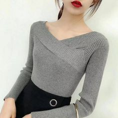 Fashion 2019 Fall Winter Women Long Sleeve Knitted Pullovers Ladies Bottoming Jumper Criss-Cross Slash Neck Slim Sweaters