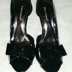 "SALE Pierre Dumas Black Bow Heels Adorable Black Bow 4"" Heels. Open on one side of each heel. Pierre Dumas Shoes Heels"