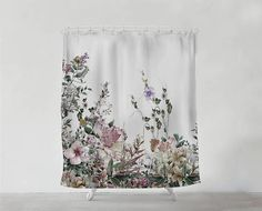 Vintage Field Flowers shower curtain - Bathroom art - Bohemian - Home decor - Bathroom Sets - uniqu