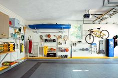 The single most-important secret to a clutter-free garage: utilize your wall space and keep piles off the ground.