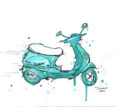 Watercolor and pen travel illustration - The Mint Vespa print. $25,00, via Etsy.