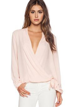 Women V-Neck Shirts Foldable Long Sleeve Casual Chiffon Blouse Top Love Fashion, Plus Size Fashion, Fashion Outfits, Fashion Design, Surplice Top, Beautiful Blouses, Revolve Clothing, At Least, Couture