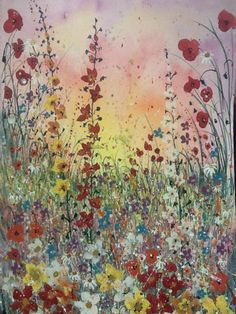 ARTFINDER: Sunset poppies by Jane Morgan - This is the original of my lovely print ' sunset poppies'  inspired by warm colours of red, yellow and orange. I used watercolour for the wash, gouache and a...