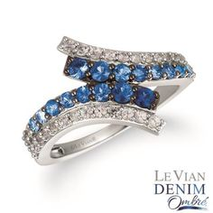 14K Vanilla Gold® Denim Ombré® 3/4 cts., White Sapphire 1/2 cts. Ring