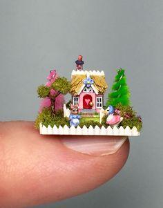 OOAK Miniature Dollhouse Putz Storybook Cottage Handcrafted Springtime House   eBay