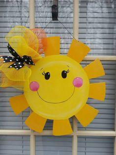 Summer door hanger summer wreath summer welcome sign by MoniLulis