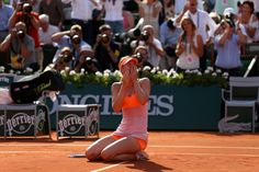 Maria Sharapova of Russia celebrates match point during her women's singles final match
