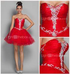 Fiesta cóctel/Fiesta regreso/Fiesta de baile/Día Festivo Vestido - Rojo Corte A/Corte Princesa Corto - Escote Corazón Organza/TulTallas 2016 – $79.99