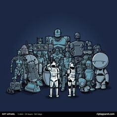 """A pop culture robot mashup t-shirt by Wirdou. """"These are Not the Droids We Are Looking For"""" is a Star Wars reference and this t-shirt features stormtroopers Culture T Shirt, Pop Culture, Geek Culture, Funny Tee Shirts, Cool T Shirts, Disney Pixar, Troll, Star Wars Tshirt, Humor Grafico"""