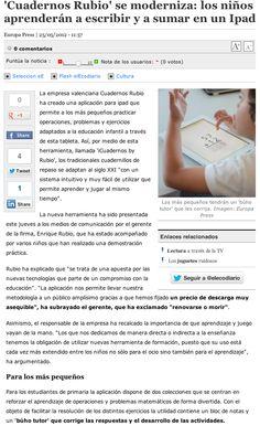 Nota de prensa sobre iCuadernos by Rubio en El Economista.