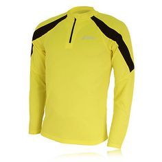 Asics volt run mens long #sleeve yellow running #training half zip #sports top,  View more on the LINK: 	http://www.zeppy.io/product/gb/2/271240238082/
