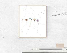 Flowers & Stars minimal wall art, graphic design, modern, digital print, wall art print, digital download, flowers, floral, simple, stars