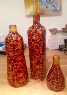 Mosaic bottle design/bottle decoration/glass painting