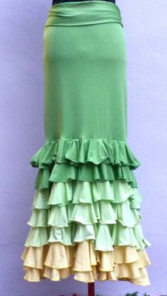 Flamenco skirt  Falda flamenco  green size by myFlamencoBoutique, $79.99