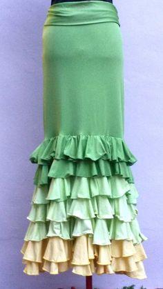 Flamenco skirt Falda flamenco green size by myFlamencoBoutique, $79.99