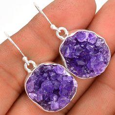 Amethyst Druzy 925 Sterling Silver Earrings Jewelry