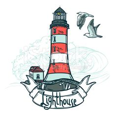 Lighthouse Sketch Illustration royalty-free stock vector art