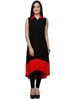 Casual Wear Black Cotton Kurti