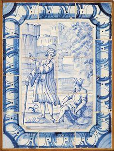 Figuras, painel de seis azulejos com bordadura de dez azulejos, decoração a azul Origem portugueses,  séc. XVIII