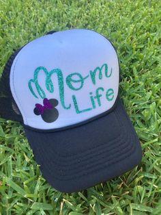 Mom Life Trucker Hat, Disney Hat, Disney Mom Hat, Trucker Hat, Glitter Disney Hat by MelisCarlosDesigns on Etsy