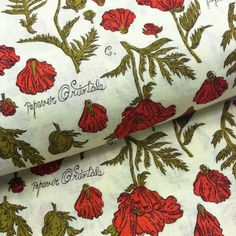 Oriental Poppies Vintage Botanical Print Feedsack Fabric 1950's/60's Cotton Fabric