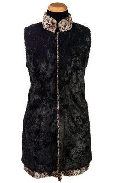 138faf95e7e0 Mandarin Vest - Luxury Faux Fur in Carpathian Lynx with Cuddly Fur in Black