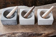 Concrete and Wood Mortar and Pestle Set/ Modern Kitchen Tools/ Minimalist Home Decor