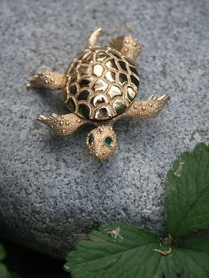 Vintage Monet Gold Tone Turtle Brooch by BeadOnTime on Etsy, $21.00