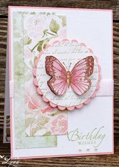 handmade birthday card ...soft colors ... simple design ... die cut realistic butterfly ... sweet!!