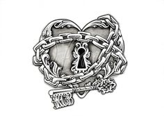heart tattoo in chains