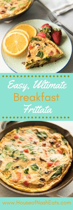 A savory, easy, ultimate breakfast frittata makes a wonderful breakfast, brunch or even lunch, especially when it is loaded with protein and veggieslike red peppers, mushrooms, spinach, onions, and sausage. It's light and fluffy and comes together quickly. Plus, it's Whole30 compliant! #frittata #breakfast #eggs #healthy #whole30