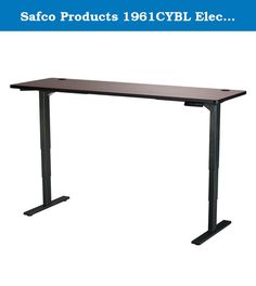 """Safco Products 1961CYBL Electric Height-Adjustable Table, 72"""" x 24"""", Cherry/Black. Make standing a part of your workday with the Electric Height-Adjustable Table that lets you choose how you work. The Table Base easily adjusts from 24"""" to 50""""H (including 1"""" thick work surface) at 1.5"""" per second allowing the choice to sit or stand while working, and easily transition from one position to another. It also features a soft start/stop control and a quiet motor (<50dB) to not disturb others in..."""