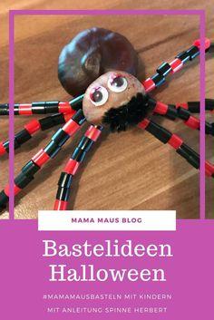 Bastelideen für Kinder zum Thema Halloween. Anleitung zum Basteln einer kinderleichten Spinne. #MamaMausBasteln
