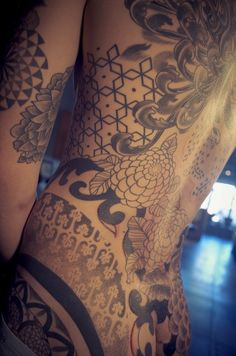 GEMMA PARIENTE    San Diego, California at fullcircletattoo…  geometric tattoo black back