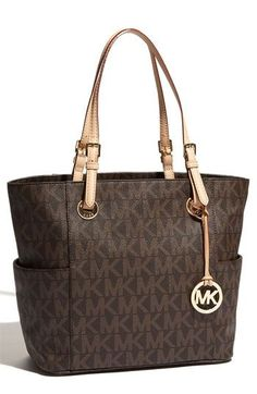 MICHAEL Michael Kors 'Jet Set Signature' Tote from Nordstrom. Saved to Things I want as gifts. Michael Kors Jet Set, Outlet Michael Kors, Cheap Michael Kors, Michael Kors Tote, Handbags Michael Kors, Hermes Handbags, Louis Vuitton Handbags, Purses And Handbags, Designer Handbags