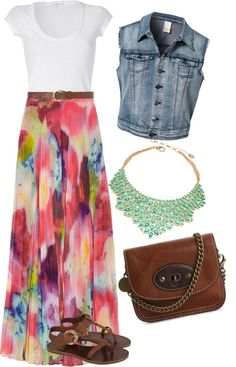 """Maxi Skirt Easter Outfit"" by kelseythesinger on Polyvore- minus the jean jacket"
