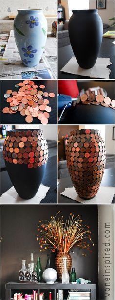 nova vida para moedas antigas - vaso decorado