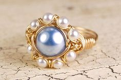 Wire Wrapped Ring - Blue and White Swarovski Pearls
