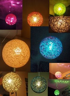 Yarn ball, any size any color Light Crafts, Fun Crafts, Diy And Crafts, Arts And Crafts, Craft Projects, Projects To Try, Ideias Diy, Yarn Ball, Diy Hanging