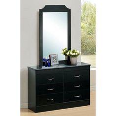 Hodedah Imports 6 Drawer Dresser with Mirror - HI917 DM BLACK
