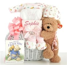Sweet Baby Girl Gift Basket - http://www.gotobaby.com/ - Get this adorable gift basket with an adorable Plush Teddy bear by Ty and free personalized ribbon for your baby girl.