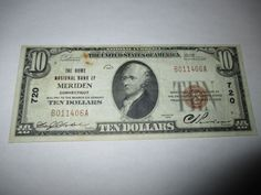 $10 1929 MERIDEN CONNECTICUT CT NATIONAL CURRENCY BANK NOTE BILL! CH. #720 VF!