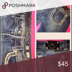 MISS ME JEANS! SIZE 31. CHEAP!!!! Barely worn, still in perfect condition! They were a gift and are not my size just taking up room in the crowded jean drawer. SIZE 31. Feel free to message me for contact info and any other questions. Miss Me Jeans Boot Cut
